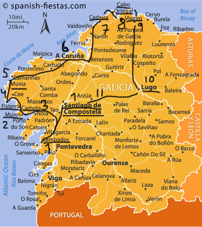 Karta Over Spaniens Vastkust.Galicien Svensson Mot Strommen